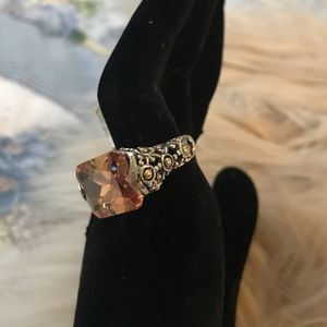 Silver Plated Topaz CZ  Pinky Ring Size 5